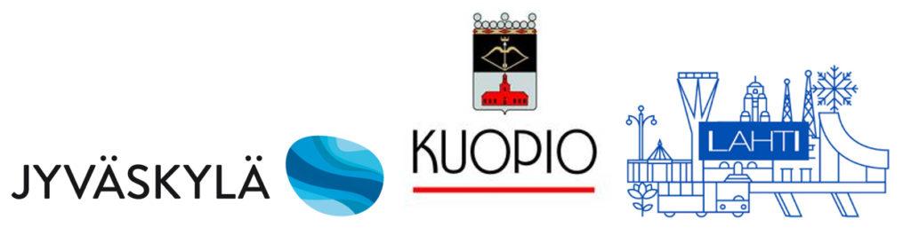 Jyväskylän, Kuopion ja Lahden logot