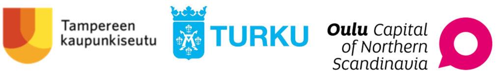 Tampereen kaupunkiseudun, Turun ja Oulun logot